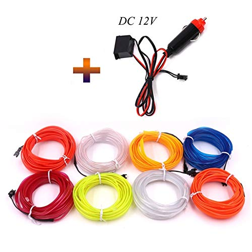 Flexibilität LED-Streifen, LED-Streifen mit Fernbedienung LED Seil geführte Streifen-Lichter for Schlafzimmer Spiegel TV (Color : Green, Size : Car inverter EL wire)