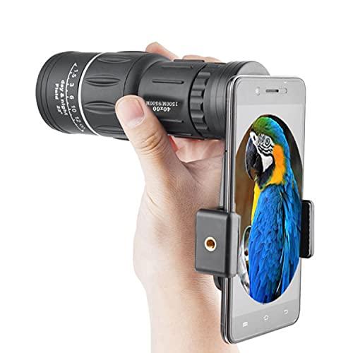 SANON HD Monocular Telescopio 40X60 Dual Focus Día y Visión Nocturna Óptica Monocular Caza Camping Senderismo Teléfono Telescopio