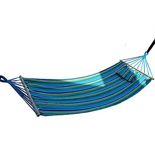 JTH Amaca Portatile in Cotone, Tessuto Trapuntato con Cuscino Doppio Spreader Bar Resistente all aperto Campeggio con Cuscino Rimovibile (Color : Blue, Size : 200 × 80CM)