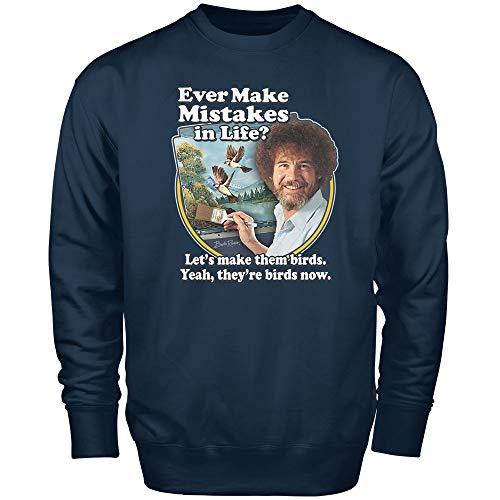 Teelocity Bob Ross Make Mistakes into Birds Sweatshirt (X-Large, Navy)