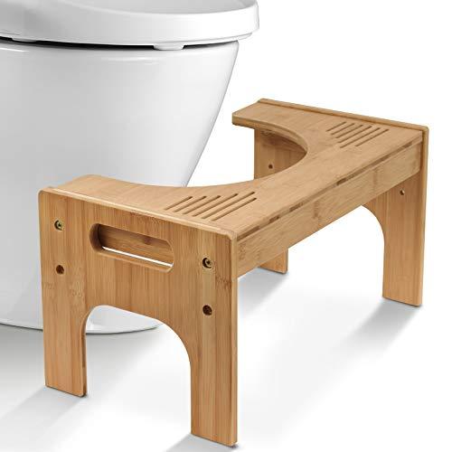 Todeco Sgabello da toilette Bambù,Sgabello da Bagno regolabile 17 - 24cm, Sgabello WC di Antiscivolo da Bambini Adulti, Colore Naturale