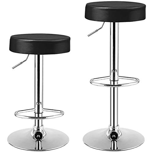 COSTWAY Bar Stools Set of 2, Modern Swivel Backless Round Barstool, PU Leather Armless bar Chair with Height Adjustable, Chrome Footrest, Sturdy Metal Frame for Kitchen Bistro Pub (Black, 2 pcs)