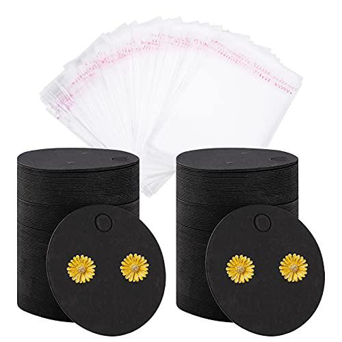 Tarjetas para aretes,200 tarjetas de exhibición de aretes con 200 bolsas autoadhesivas,tarjetas con tachuelas para los oídos,negro/papel tarjetero para aretes para exhibición de envases,aretes Black