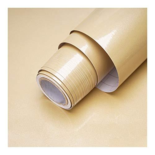 HDS 1M / 2M Moderne Wohnzimmer-Möbel Tischwasserdicht Marmor Tapeten Vinylselbstklebenden Kontakt Papier Solid Color Home Decor (Color : Shiny Champagne, Dimensions : 40cm x 2m)