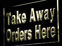 ADVPRO Take Away Order Here Display Shop LED看板 ネオンプレート サイン 標識 Yellow 400 x 300mm st4s43-j107-y