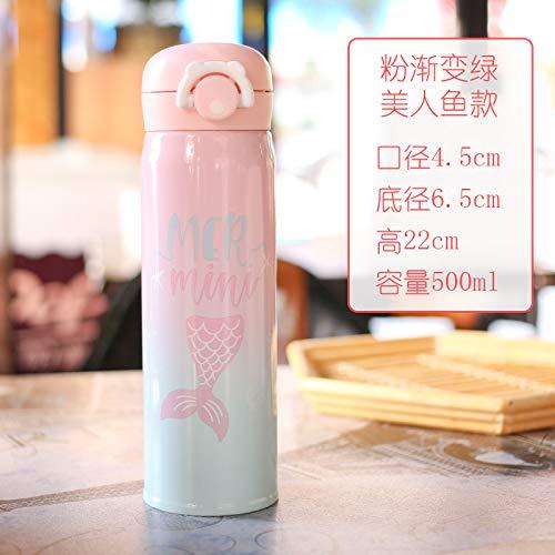 Cartoon Isolatie Cup draagbare 304 roestvrij staal Hot Water Cup fles rechte drank (500ml) roze