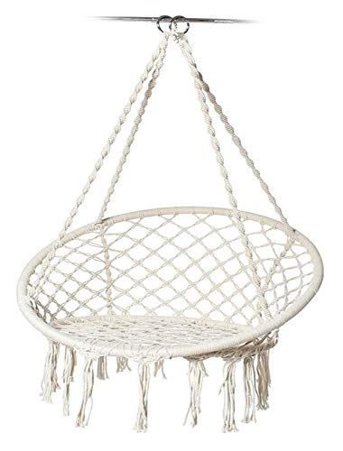 WERTYG Tassels Garden Swing Chair,Round Hammock Swing Chair Knitted Mesh Cotton Rope Macrame Hanging Chair, for Indoor Outdoor,Black (Color : D)