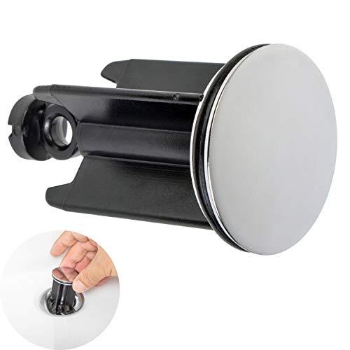 Universal Waschbeckenstöpsel, Ø 40 mm Chrom Abflussstopfen, aus Messing, mit extra Gummi Dichtung, für Waschbecken im Bad und Bidets, Höhenverstellbarer Stöpsel, Rostfrei und Leck-frei, Ablaufstöpsel