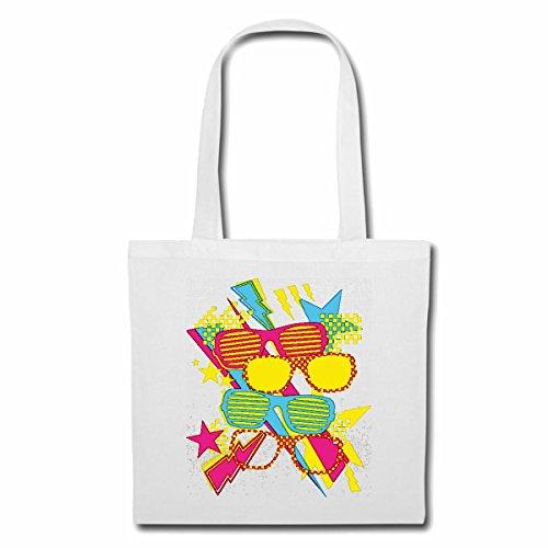 Tasche Umhängetasche Brillen Graffiti Techno Brillen BRILLENGESTELL BRILLENGLÄSER Sonnenbrillen Lesebrille GLEIDSICHTBRILLE Einkaufstasche Schulbeutel Turnbeutel in Weiß