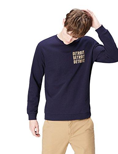 Marca Amazon - find. Sudadera Detroit para Hombre, Azul (Navy 001), L, Label: L