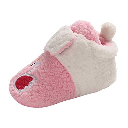 0-18 Meses,SO-buts Recién Nacido Bebé Niñas Niños Invierno Cálido Color Sólido Zapatos De Dibujos Animados Primeros Caminantes Zapatos De Suela Suave Zapatillas De Deporte (Rosado,6-12 Meses)