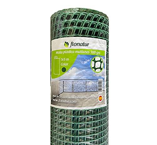 flonatur Malla de plastico para Balcones y terrazas, Verde 1x10, Malla Rejilla cerramientos Diferentes Medidas, Ancho del Cuadro 1x1 cms, Peso 300gr/m2.