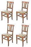 Tommychairs - Set 4 sillas Artemisia para Cocina y Comedor, Estructura en Madera de Haya Color Nogal Claro y Asiento en Tela lisere roja