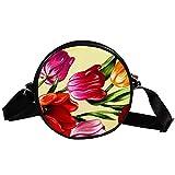 Bennigiry Tulpen-Handtasche/Clutch, rund, für Teenager, Mädchen und Frauen