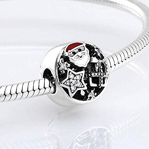 Women's Bead Charms,925 Sterling Silver Santa Claus Star Beads for Jewelry Making Fit Original Charm Bracelets Bangles