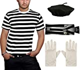 Islander Fashions para Hombre Negro Raya Blanca Camiseta Beret Hat Tirantes Guantes Franc�s Mime 4 Piezas Conjunto Medio