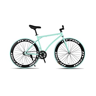 GYZLZZB Minimalist Fixie Single Speed 700C 26 Inch Commuter City Road Bike High Carbon Steel Frame | Frame Urban Reverse Braking Fixed Gear Bicycle Retro Vintage Adult Ladies Men(Green and Black)