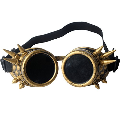 Lelinta Spiked Goggles Steampunk Welding Goth Cosplay Vintage Goggles Rustic