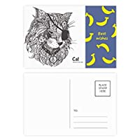 猫は人間のペンキの1つの目 バナナのポストカードセットサンクスカード郵送側20個