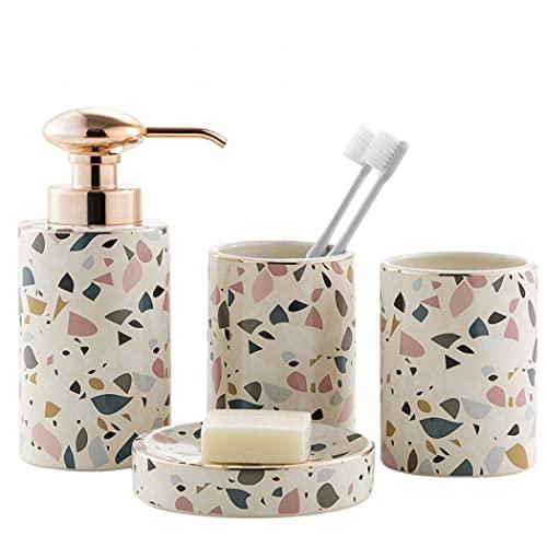 Designer 4 Pieces Ceramic Bathroom Accessory Set Luxury Bath Accessories Bath Set for Bathroom Lotion Bottles,Toothbrush Holder,Tooth Mug,Soap Dish