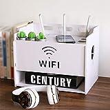 Enrutador WiFi Set Top Box Caja De Almacenamiento Enchufe Cable De Alimentación Caja De Acabado Estante De Almacenamiento De Dispositivos Multimedia Estante De Exhibición Multifuncional (Color:Blanco)