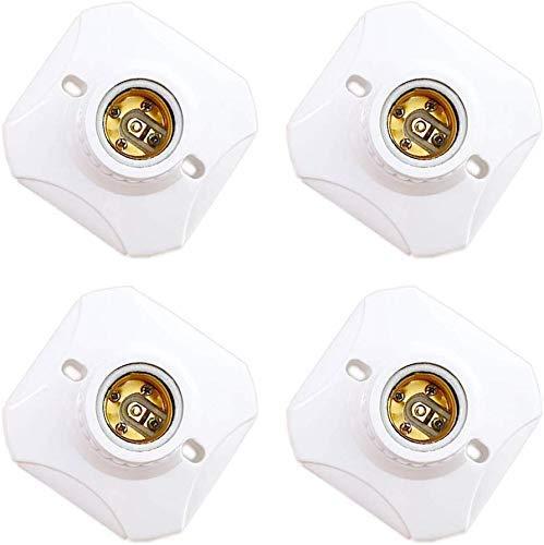 Fassung E27 mit Gewinde für E27 LED(<60W), AC 220-240V, Wandfassung E27 Kein Kabel, E27 Deckenfassung mit Halterung, E27 Fassung Design für Korridor/Kellerräume/Garage, Weiß, 4er-Set