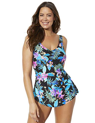 Swimsuits For All Women's Plus Size Sarong Front One Piece Swimsuit 24 Pink Floral