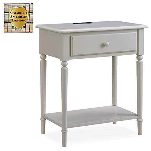Leick Home Coastal Notions Night Stand Nightstand, Greige