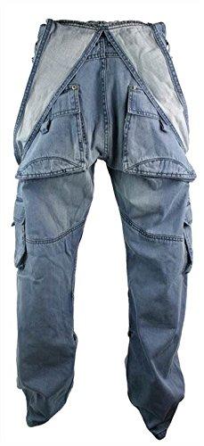 Peviani Mens Dungarees Jeans Combat Pockets Stone Wash Light Blue Turn Up