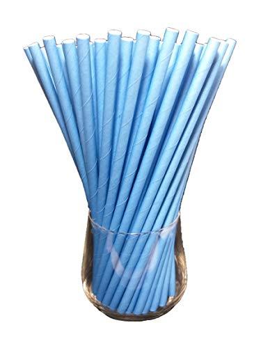Sam for You Papierstrohhalme, Papier Trinkhalm, Biologisch, Lebensmittelecht, umwelftreundlich, Einweg-Strohhalme, 120 Pack (Blau)