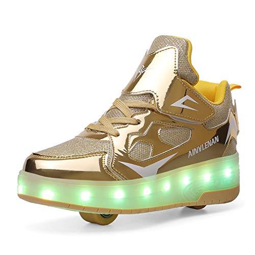 Zapatillas de skate para niños y niñas con LED, con doble rueda, para deportes al aire libre, gimnasia, fitness, carga USB, 7 colores intermitentes y luminosos., color Dorado, talla 30 EU