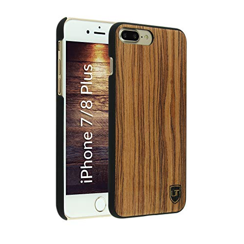 UTECTION Custodia in Legno per iPhone 7 Plus / 8 Plus - Vero Legno - Ultra Sottile - Design Unico, Wood Cover Bumper Walnut