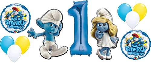 The Smurfs - Decoración para globos de cumpleaños con pitufos y pitufos