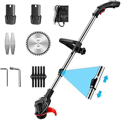 DEALRITE Cortadora de césped eléctrico portátil de 48 V, cortadora de césped sin cable, kit de cortador de poda, herramientas de jardín, con 2 baterías de 4500 mA.