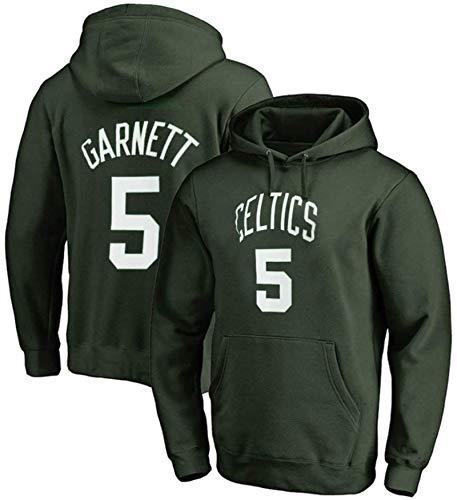 Jersey para Hombre Kevin Garnett No.5 Boston Celtics Hombre Baloncesto Sudadera con Capucha Pullover Suelto Manga Larga Entrenamiento Cómodo Casual Top Camisa Activa (Color : B, Size : XX-Large)