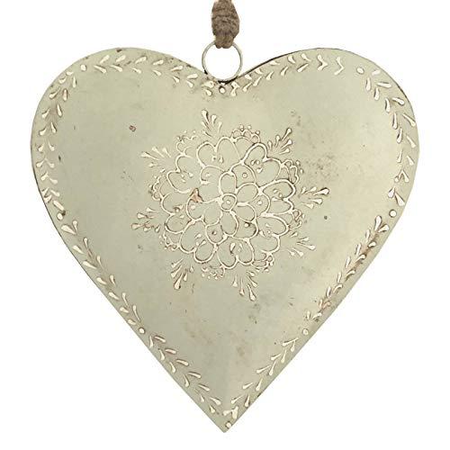 L'ORIGINALE DECO Grand Cœur à Suspendre en Métal Fer Blanc Patiné 21 cm x 21 cm