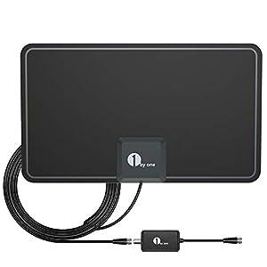 Antena de TV, [Versión Mejorada] XBoze Antena Interior HDTV de Rango Amplificado de 50 Millas / 80 KM con Amplificador de Señal y Amplificador Avanzado y Cable Coaxial de 16,5 Pies (Negro): Amazon.es: Electrónica