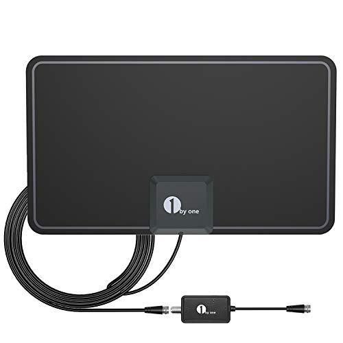 1byone Antenne TNT 0,7 mm Avec Amplificateur, Antenne TV intérieur puissante Avec Performances Excellentes Pour Signaux Numériques et Analogiques de Télévision, Pour Smart TV HD 4K 1080P VHF UHF FM