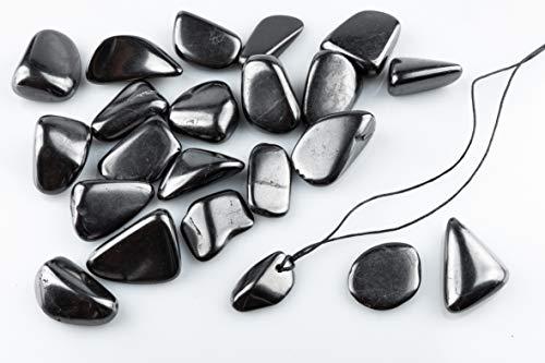 SN NATURSTEIN UG - Piedras Shungit pulidas 500g 2-4 cm + Colgante   Gema y piedra curativa originaria de Carelia - Protección contra radiación EMF
