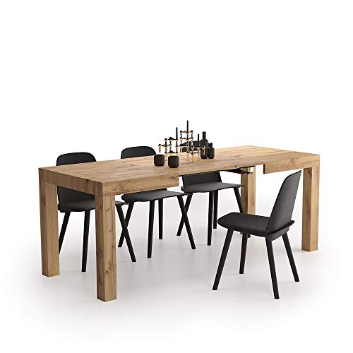 Mobili Fiver, Mesa de Cocina Extensible, Modelo First, Color Madera Rustica, 120 x 80 x 76 cm, Made in Italy