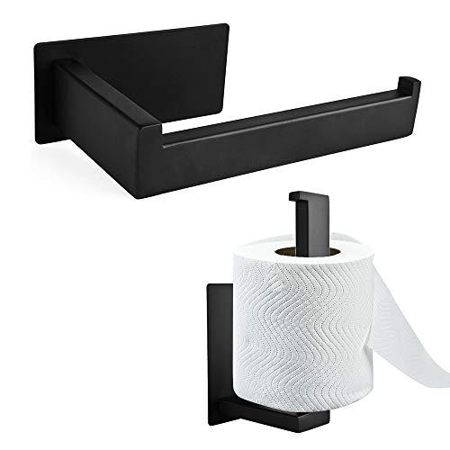 Toilettenpapierhalter Ohne Bohren, SXUUXB Klopapierhalter Selbstklebend Edelstahl Papierhalter Rollenhalter, WC Klopapier Halterung für Badezimmer und Küche (Schwarz,14.3CM)
