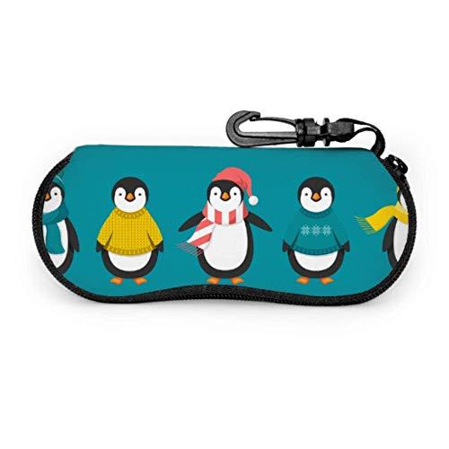 AEMAPE Estuche de gafas lindo pingüino de Navidad para hombres Estuche de gafas unisex ligero Estuche de gafas de neopreno portátil ligero con cremallera