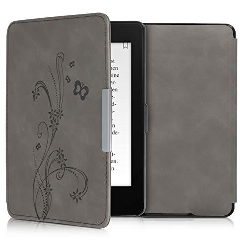 kwmobile Schutzhülle kompatibel mit Amazon Kindle Paperwhite - Hülle Kunstleder eReader (für Modelle bis 2017) - Ranken Schmetterling Grau