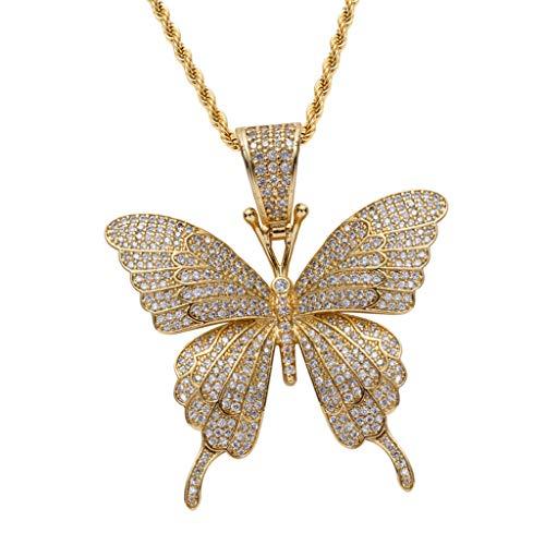 joyMerit Collar de Hip Hop con Colgante de Mariposa Chapado en Oro de 18 Quilates, Joyería Colgante de Navidad de Circonita Cúbica, Collar de Gargantilla de Na - Dorado, 5.8x5.2cm