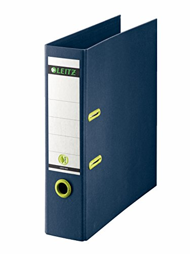 Leitz 10040069 Qualitäts-Ordner (100% receyceltes Papier, Stabile Graupappe (RC), A4, 8 cm Rückenbreite) dunkelblau