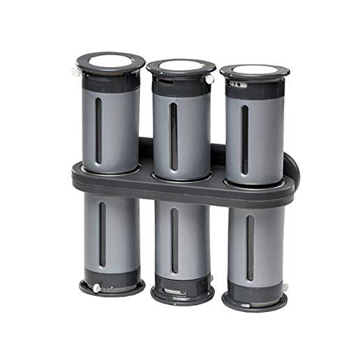 Zero-Gravity Magnetisch kruidenrek met 6 kruidpotten, kruidenhouder Zilver aan de muur gemonteerde magneten kruidenrek keuken