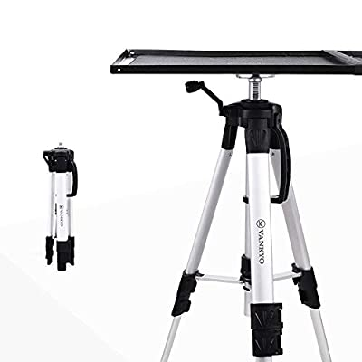 VANKYO Aluminum Tripod Projector Stand, Adjustable Laptop Stand, Multi-Function Stand, Computer Stand Adjustable Height 17'' to 46 Laptop Plate Carrying Bag