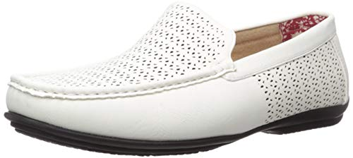 STACY ADAMS Men's Cicero Perfed MOC Toe Slip-ON Driving Style Loafer, White, 12 M US