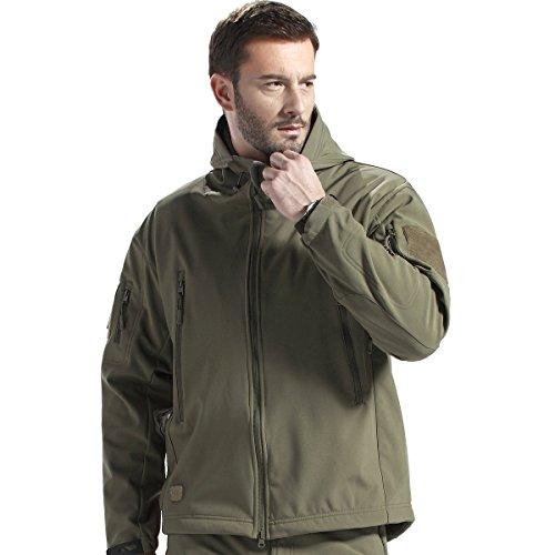 FREE SOLDIER Herren Military Softshell Jacken Outdoor Fleece Futter Winddichte wasserdichte Jacke mit Kapuze Warme Taktische Jacken mit Mehreren Taschen für Jagdausflüge(Grün,XXXL)