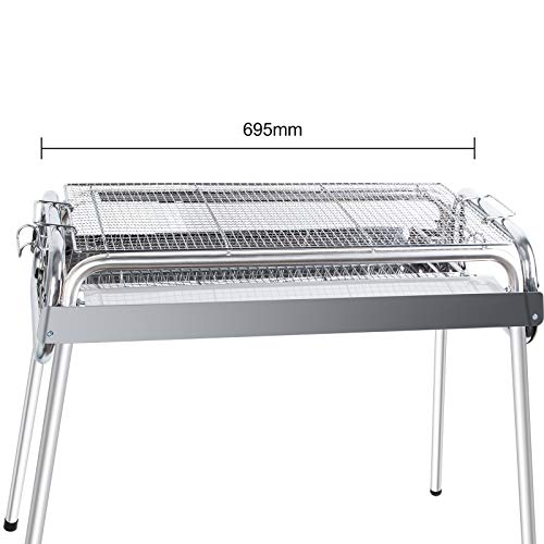 Uten BBQ Grill, 430 Rustproof Stainless Steel Barbecue Grill Smoker Charcoal Bbq, Outdoor BBQ for 5-10 Persons Family…
